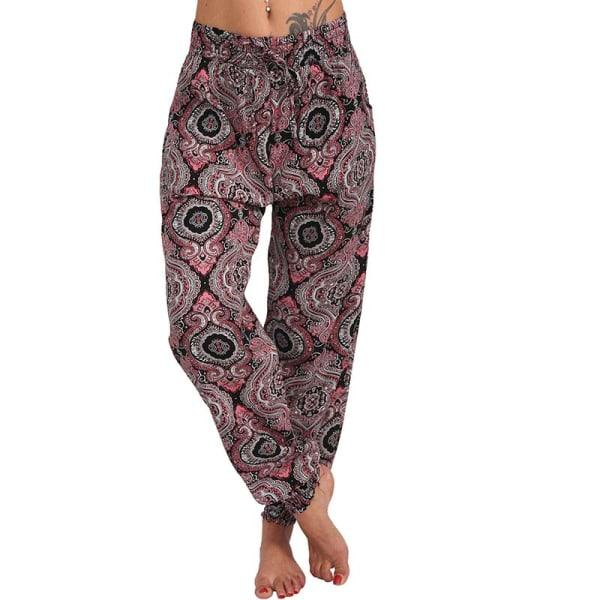 Women Pocket Wide Leg Pants Loose Pants Harem Pants Trousers Wine red 5XL
