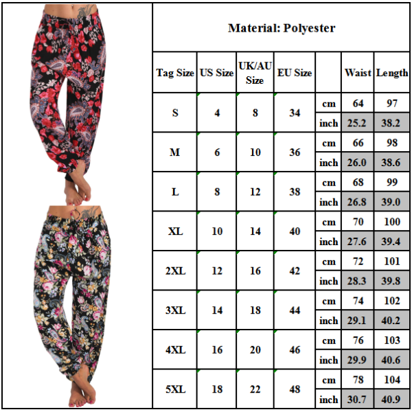 Women Pocket Wide Leg Pants Loose Pants Harem Pants Trousers Floral red S