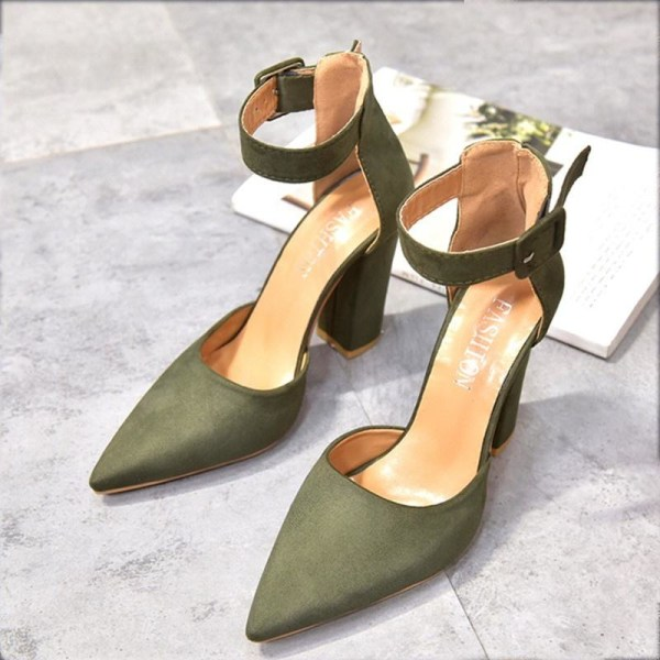 Women Pumps Ladies Solid Shoes Party Wedding army green 36