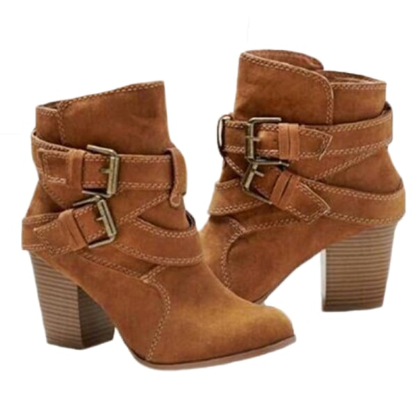 Women's Boots Ankle Boots Block Heel Winter Shoes Brown 38
