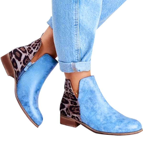 Women's Low Flat Heels Short Ankle Boots Booties Zipper Up Shoes Blue 38