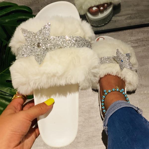 Kvinnors Glitter Star Plysch Tofflor Hem Sandaler White 43