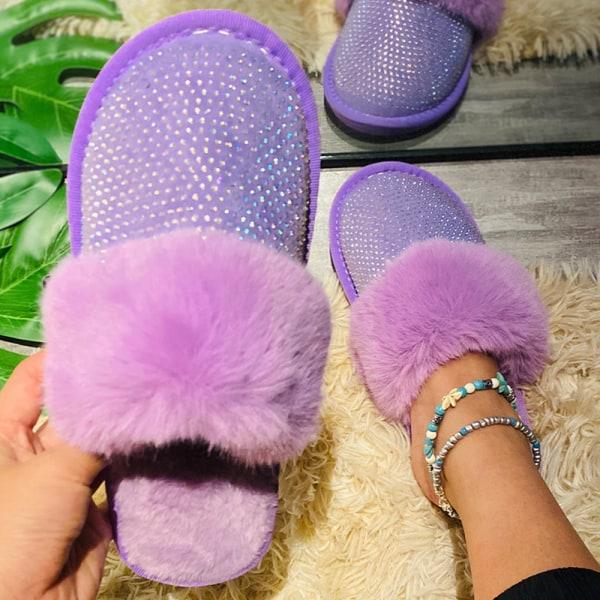 Women's Half Toe Cap Plush Sandals Slip On Shoes Purple 36