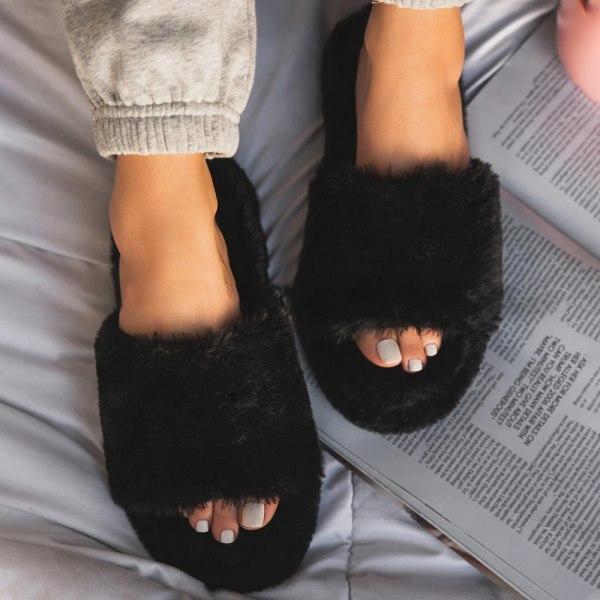 Women's Home Plush Slippers Winter Living Room Bedroom Black 36