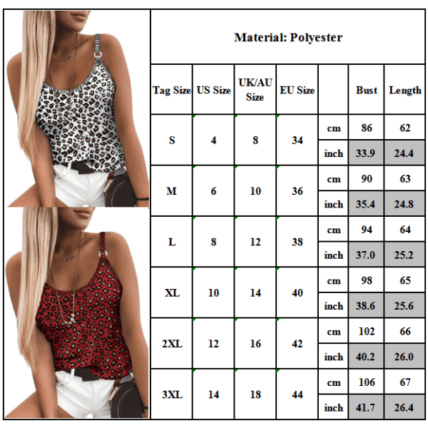 Leopardtryck för kvinnor Match Match Camisole Sexig pendlare Blue S
