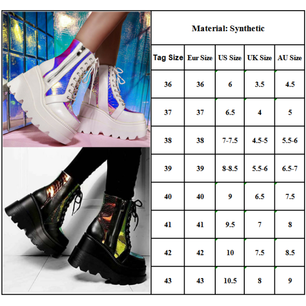 Women Gothic Punk Platform Ankle Boots Lace Up Zip Vintage Shoes White 38