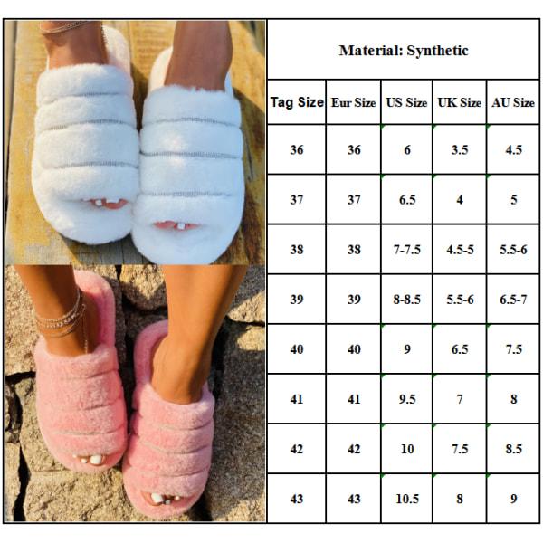 Women's Platform Plush Sandals Flat Slip On Shoes Candy 37
