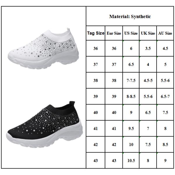 Women's Rhinestone Casual Flat Shoes White 38
