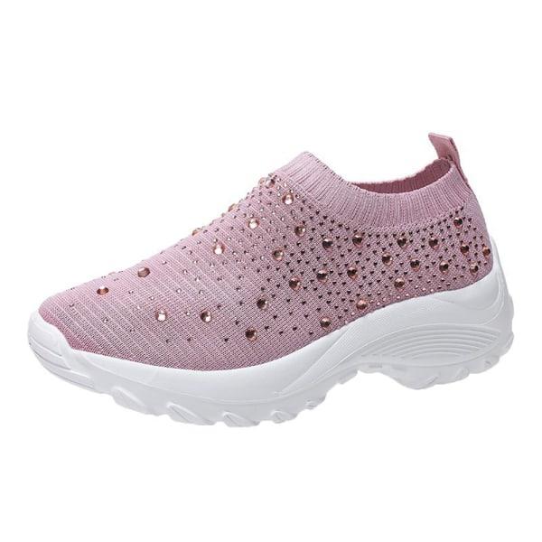 Women's Rhinestone Casual Flat Shoes Pink 41
