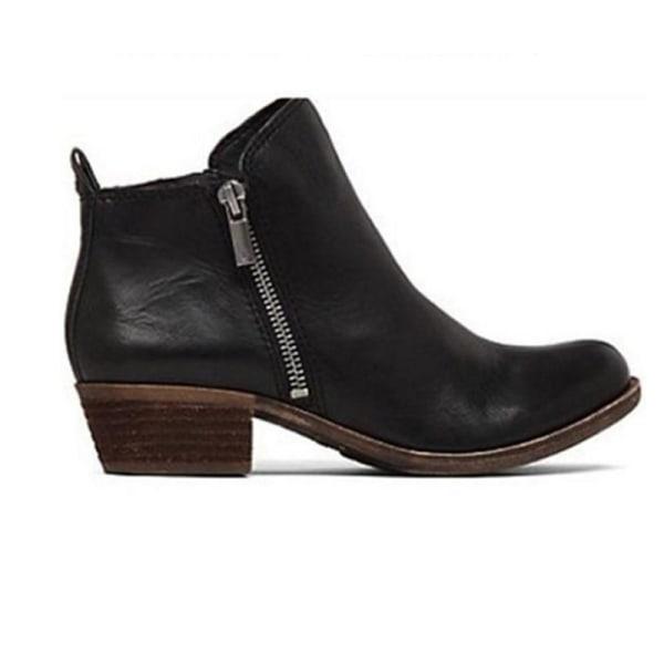 Women's Winter Boots Boots Chunky Block Heel Boots Zipper Black 36