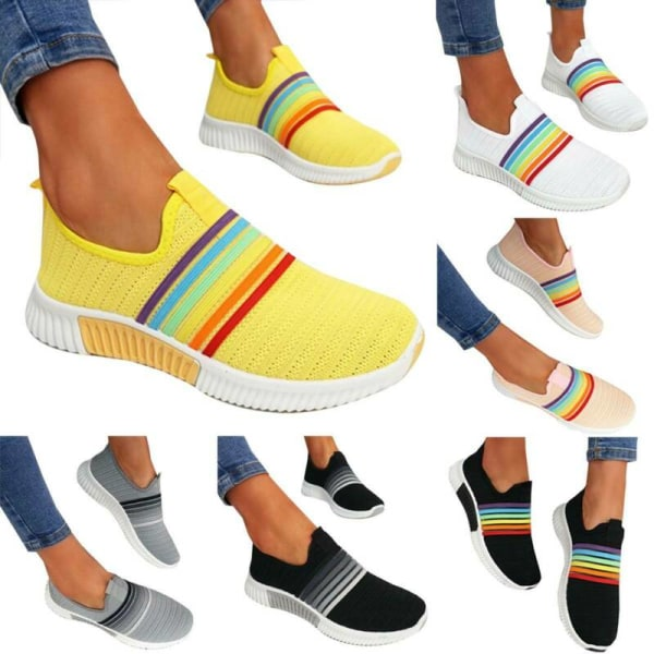 Women Slip On Rainbow Sneakers Ladies Knit Trainers Casual Shoes Black&Gray 40