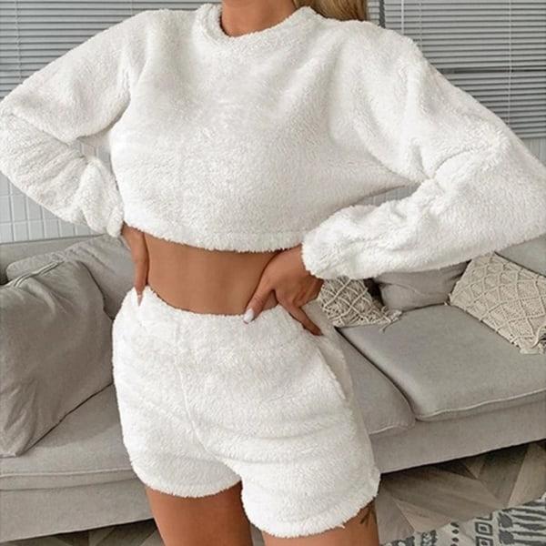 Kvinnor Mjuk Långärmad Crop Top Shorts Träningsoverall Lounge Sets White S