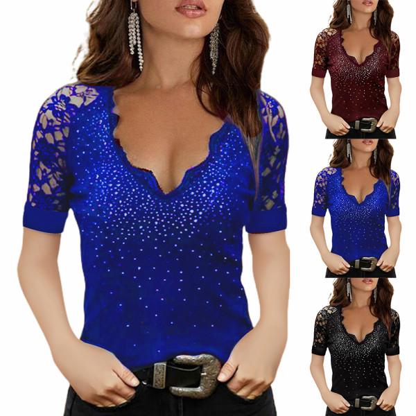 Kvinnors axelbandslös temperament V-ringad nedåtriktad skjorta kort ärm Blue M