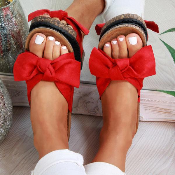 Kvinnor Sommar Bow Flatform Mule Sandaler Slip On Sliders Black 36