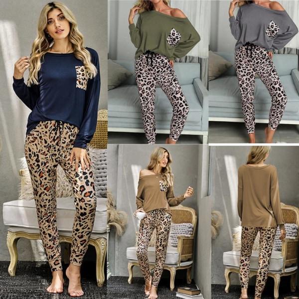 Kvinnor tvådelad leopardmönstrad långärmad byxa Homewear Brown L