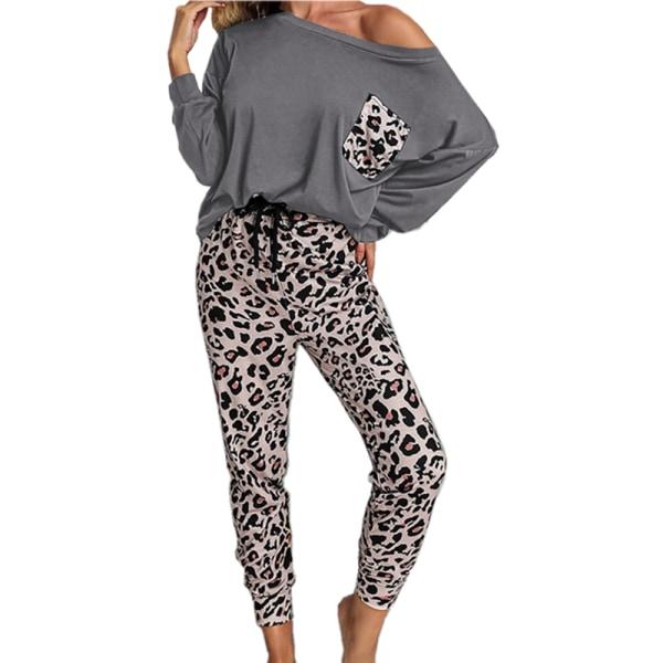 Kvinnor tvådelad leopardmönstrad långärmad byxa Homewear Gray 3XL
