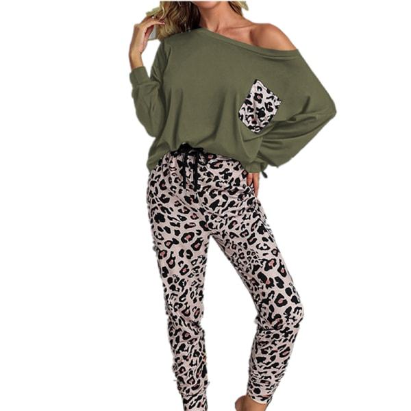 Kvinnor tvådelad leopardmönstrad långärmad byxa Homewear Green S