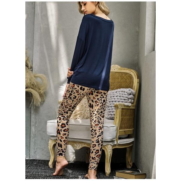 Kvinnor tvådelad leopardmönstrad långärmad byxa Homewear