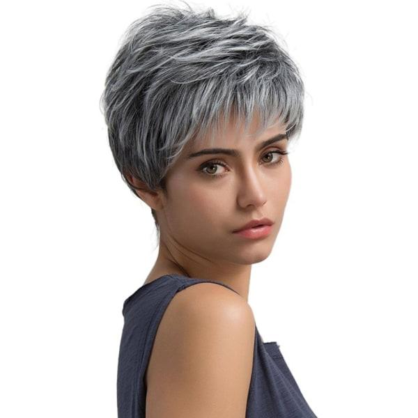 Kvinnor peruk grå vit blandad färg hår mode pendla Cosplay