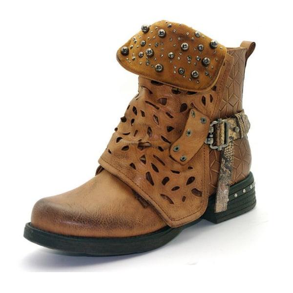 Kvinnor Vinter Ankel Low Block Heels Chelsea Zipper Booties