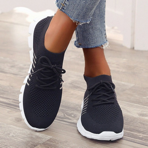 Womens Breathable Lace Up Trainers Sneakers Comfy Casual Shoes Pink 39