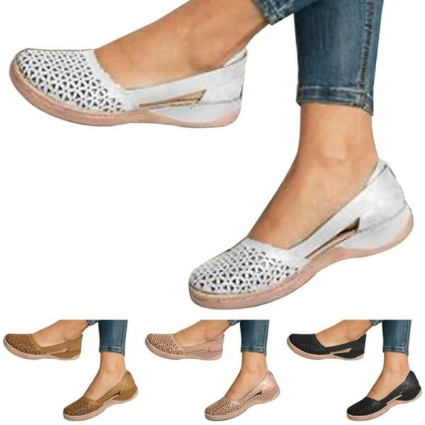 Womens Casual Flat Sandals Summer Casual Shoes Black 41