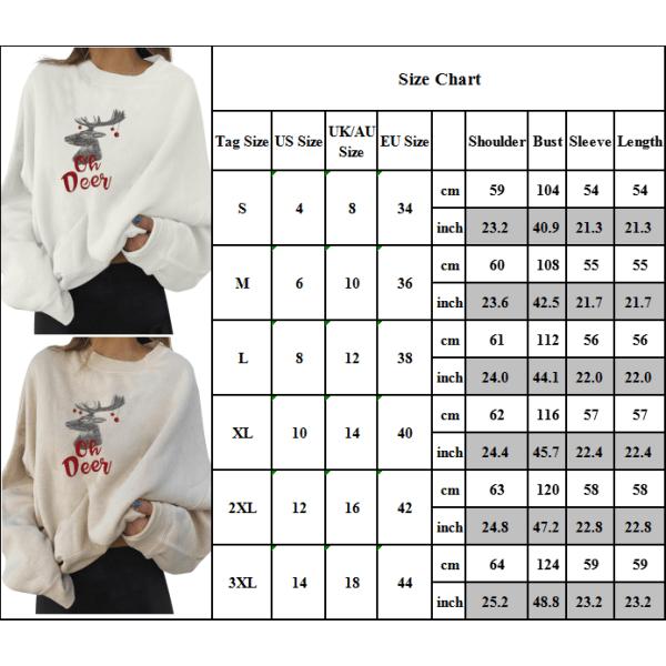 Womens Christmas Elk Print Long Sleeve Sweatshirt Blouse Tops White M