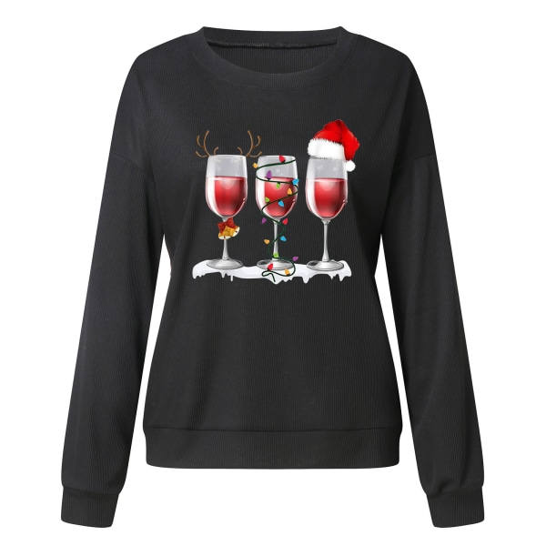 Kvinnors jul långärmad tröja tröja Xmas tröja Black 3XL