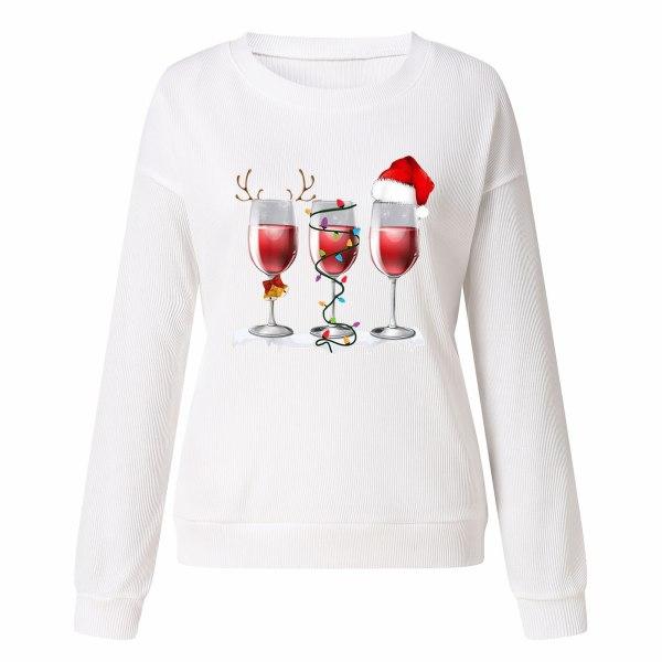 Kvinnors jul långärmad tröja tröja Xmas tröja White 2XL