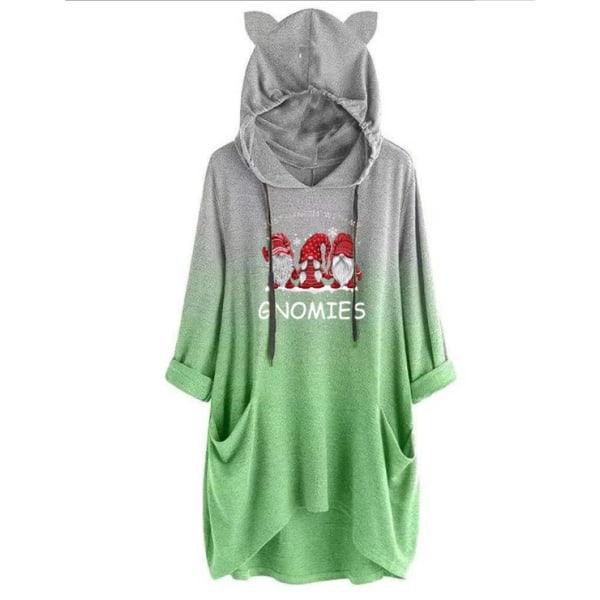 Kvinnors jul Santa Claus Hoodie Sweatshirt Xmas Pullover Green XL