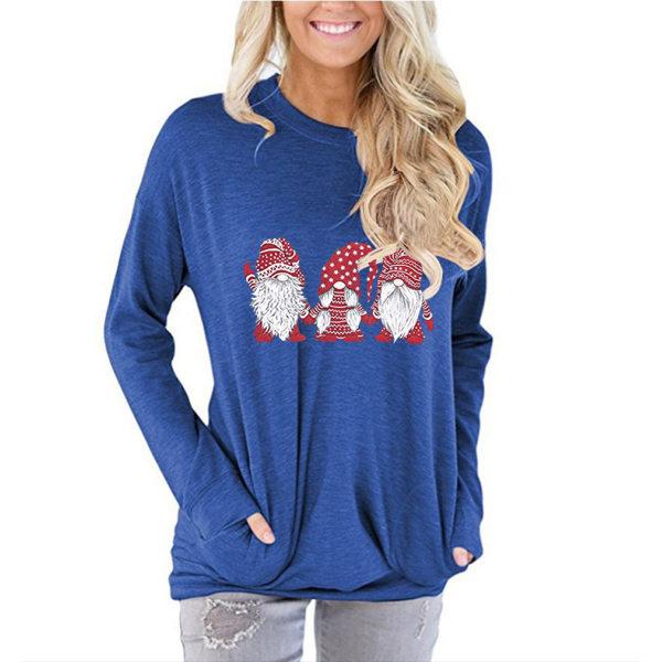 Kvinnors jul T-shirtblus Xmas Party Pullover Toppar Blue XL