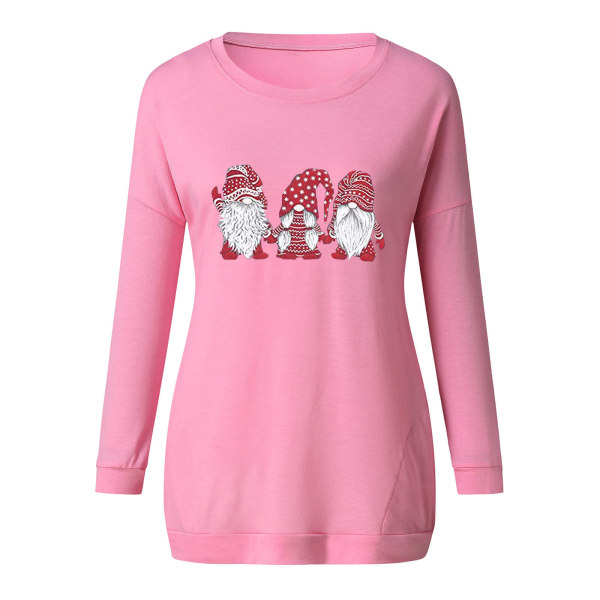 Kvinnors jul T-shirtblus Xmas Party Pullover Toppar Pink M