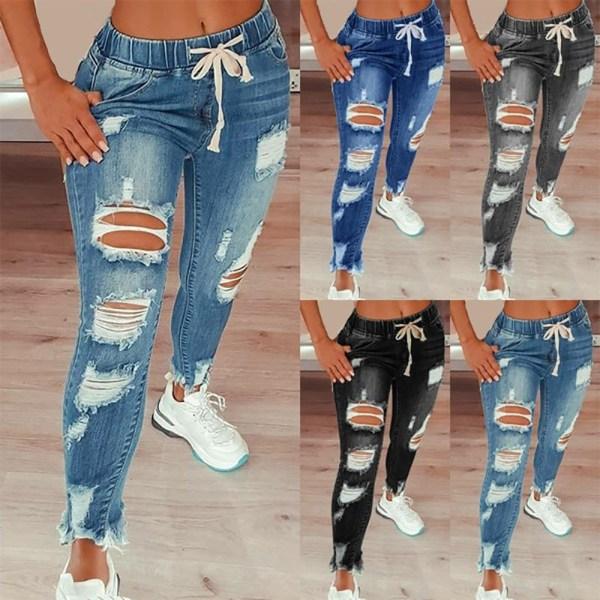 Kvinnors elastiska midja dragsko Rippade Slim Jeans Denim byxor Black XL