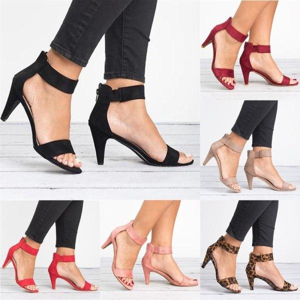 Womens Fashion Ankle Strap Open Toe black 37
