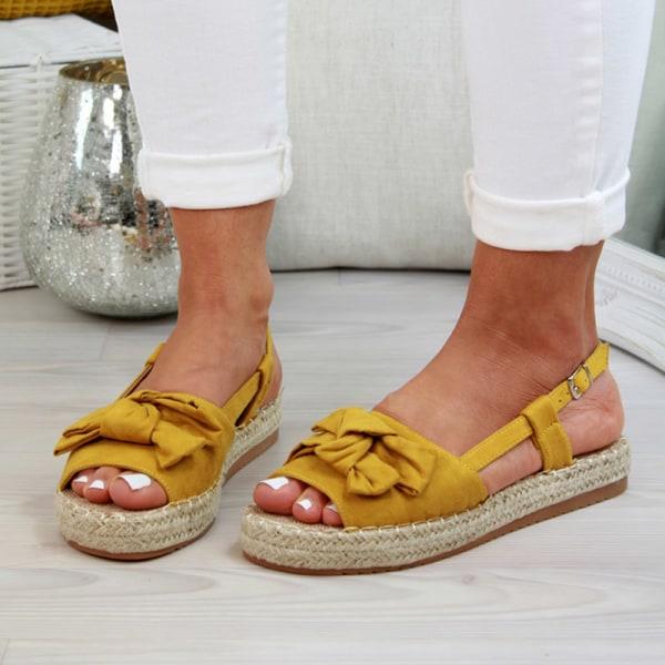 Womens Flatform Espadrille Sandals Bowknot Ladies Wedge Yellow 41