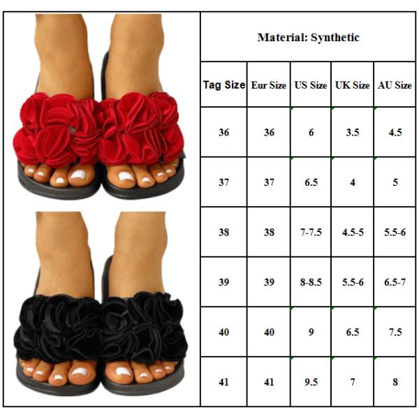 Womens Flower Flip-Flop Casual Sandals Open Toe Flat Black 40