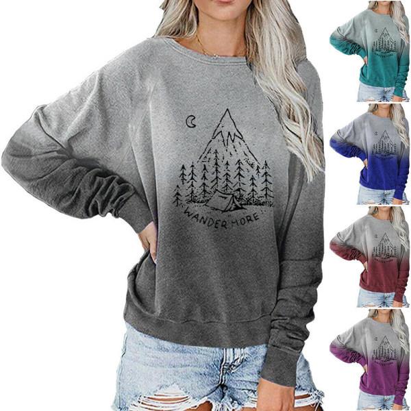 Dam Gradient Christmas Sweatshirt Pullover Top Blue L