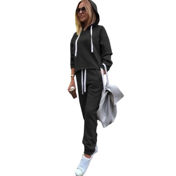 Träningsoveraller med huva för kvinnor Set Tops Byxor Sports Lounge Sets Khaki L