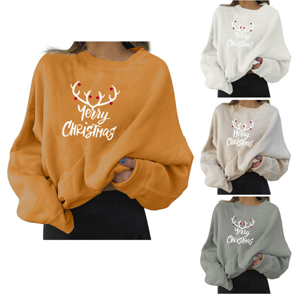 Womens Merry Christmas Crew Neck Sweatshirt Long Sleeve Tops Grey S