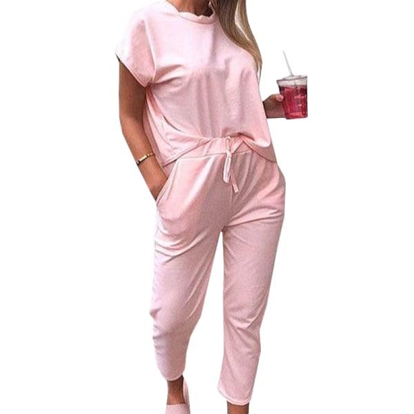 Kvinnors kortärmad träningsbyxa sweatshirtbyxor Set Lounge Sets Pink M