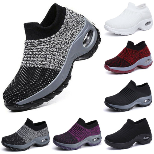 Womens Trainers Air Cushion Breathable Slip On Running Gym Shoes White 38