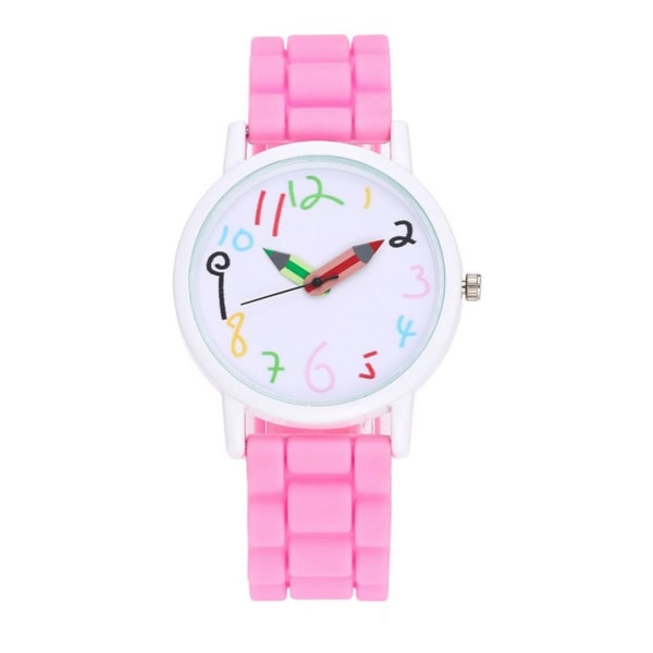 First Kids Childrens Girls Watch Pink Color Help Tell Time Paint