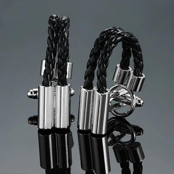 Mens Ladies Leather Style Loop Cufflinks