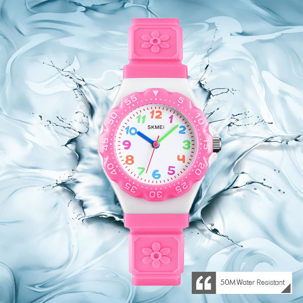 Skmei Kids Girls Children First Watch Easy Time Learning Pink