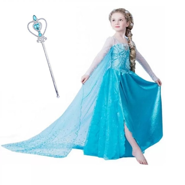 Elsa prinsess klänning + spö/trollstav 130 cl