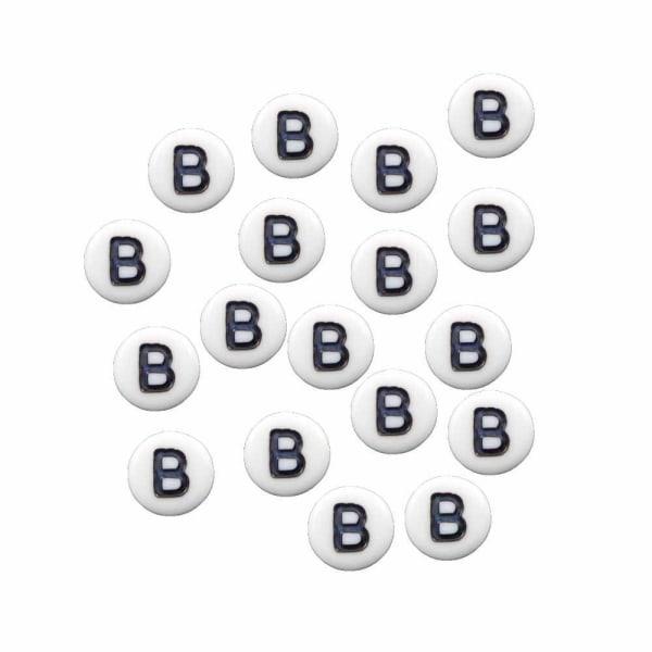 Bokstavspärlor B rund/platt vit 300-Pack