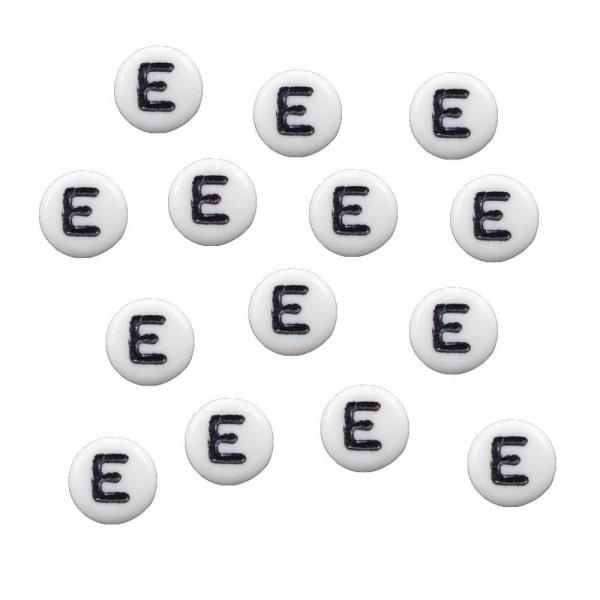 Bokstavspärlor E rund/platt vit 500 g - 3600 pärlor