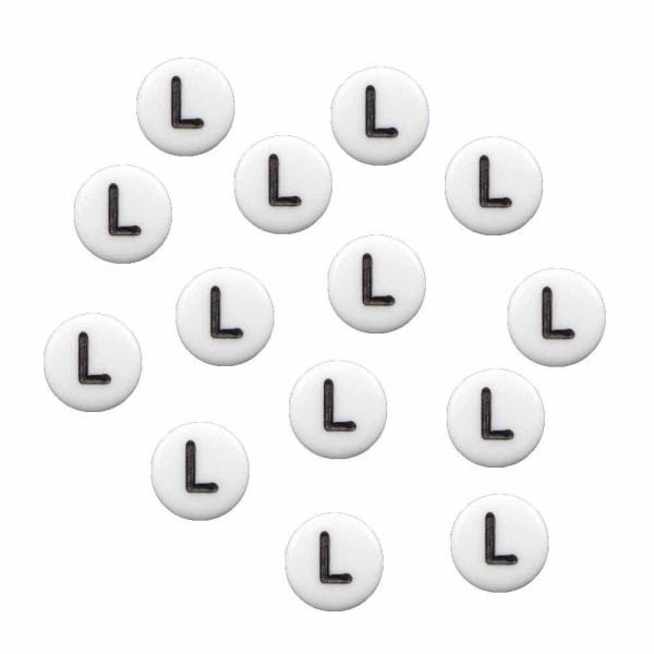Bokstavspärlor L rund/platt vit 500 g - 3600 pärlor