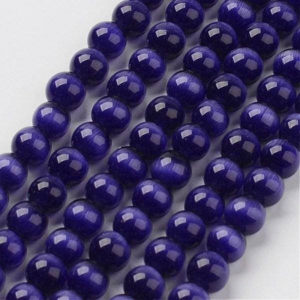Cat eye glaspärlor 6 mm mörkblå hel sträng