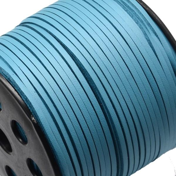 Läderband imitation platt deep sky blue - 10 meter